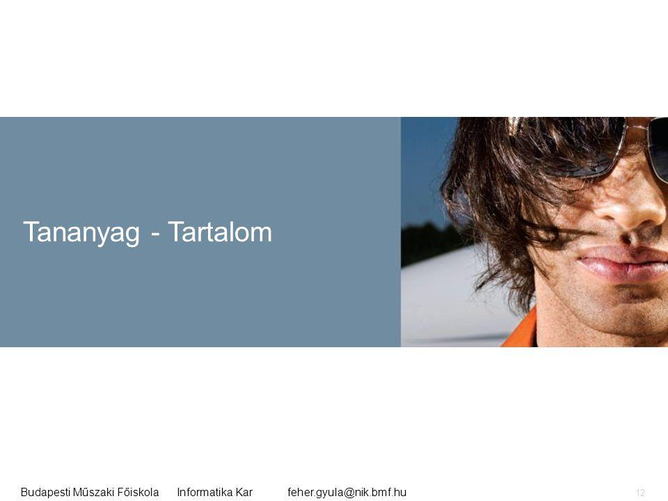 Tananyag - Tartalom