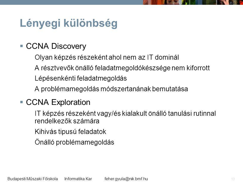 Lényegi különbség CCNA Discovery CCNA Exploration