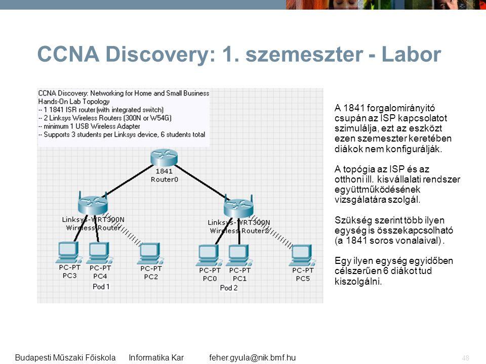 CCNA Discovery: 1. szemeszter - Labor