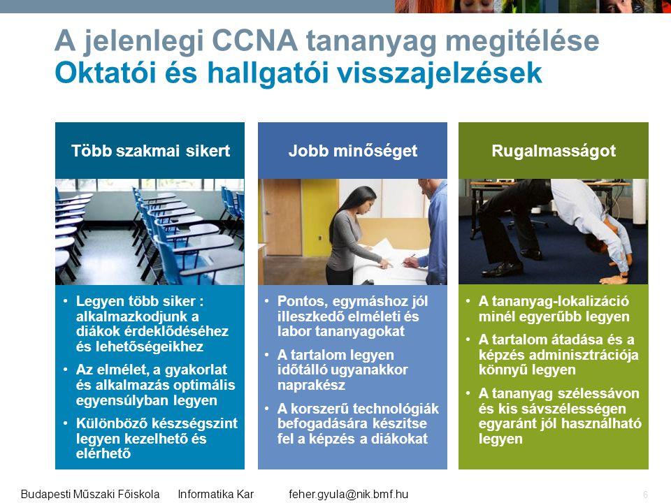 A jelenlegi CCNA tananyag megitélése Oktatói és hallgatói visszajelzések