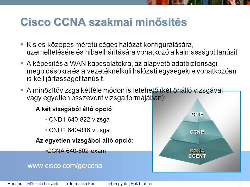 Cisco CCNA szakmai minősítés