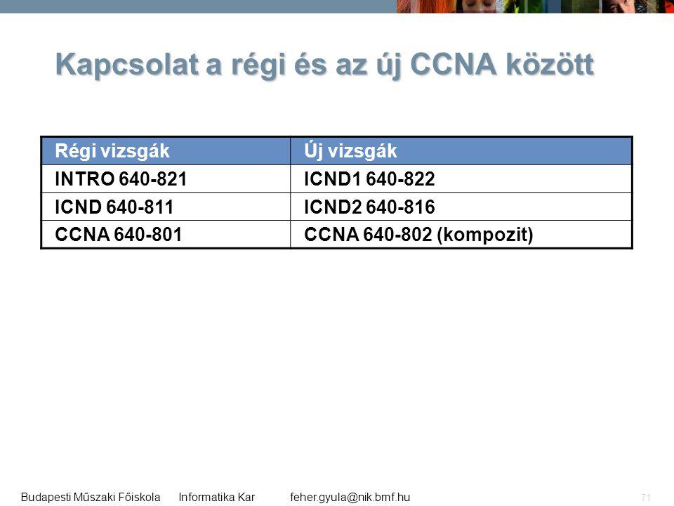 Kapcsolat a régi és az új CCNA között