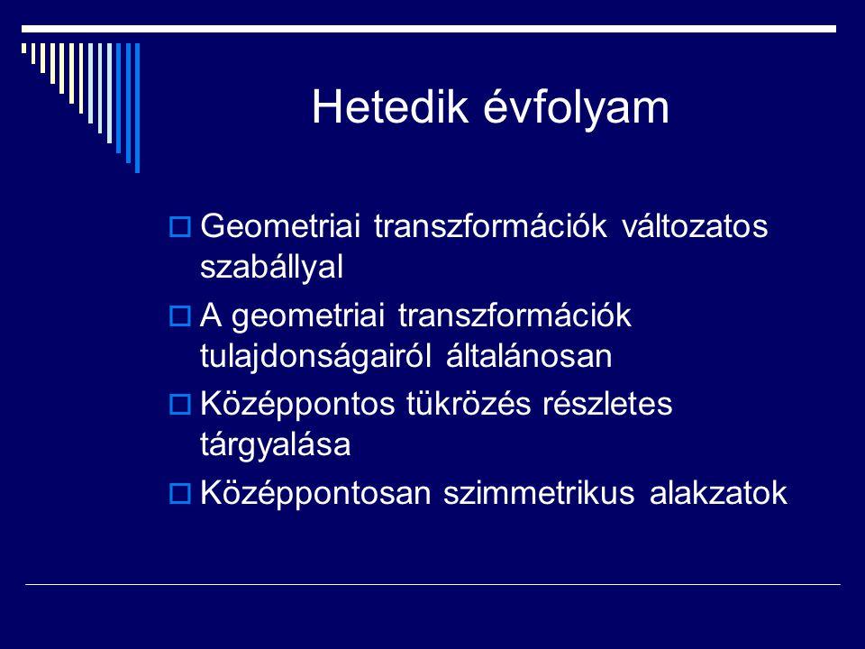 Hetedik évfolyam Geometriai transzformációk változatos szabállyal