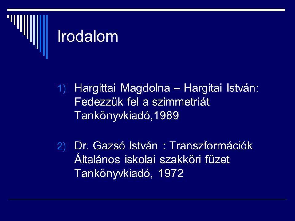 Irodalom Hargittai Magdolna – Hargitai István: Fedezzük fel a szimmetriát Tankönyvkiadó,1989.