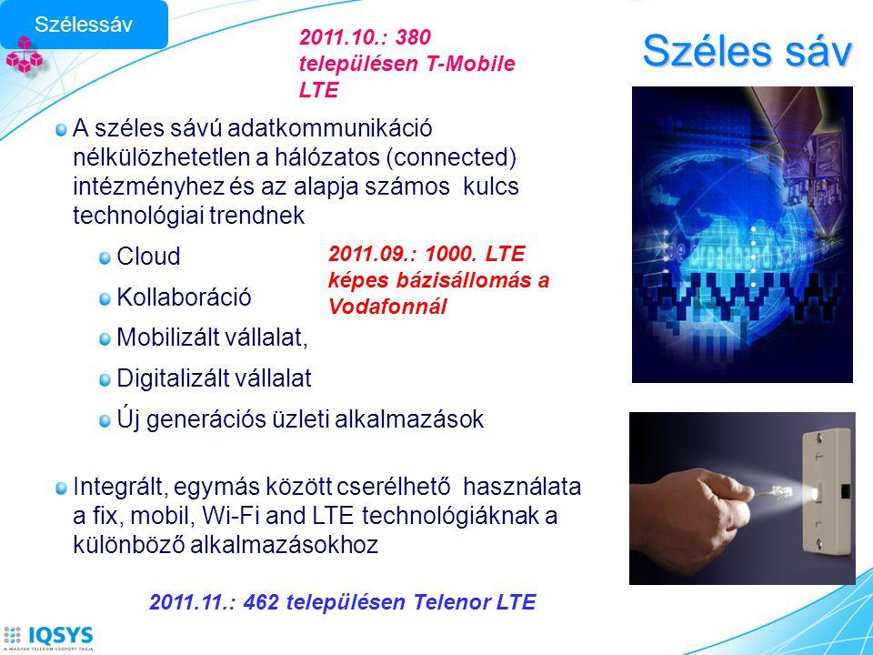 Szélessáv Széles sáv. 2011.10.: 380 településen T-Mobile LTE.
