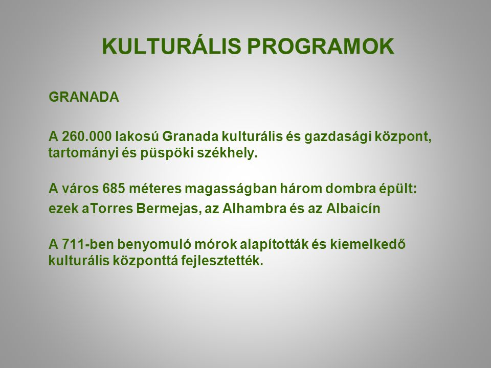 KULTURÁLIS PROGRAMOK