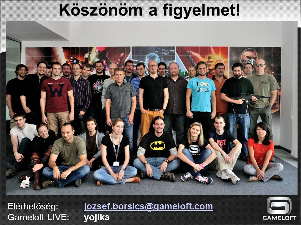 Köszönöm a figyelmet! Elérhetőség: jozsef.borsics@gameloft.com