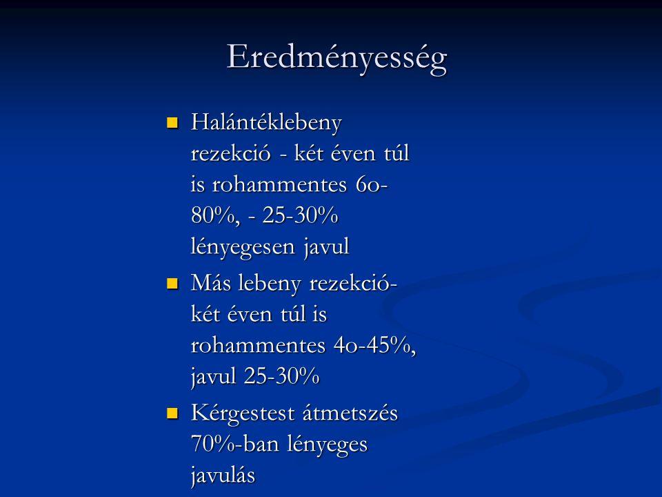Eredményesség Halántéklebeny rezekció - két éven túl is rohammentes 6o-80%, - 25-30% lényegesen javul.