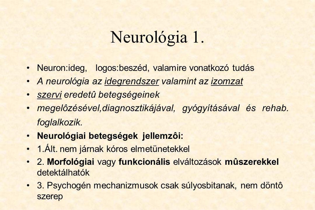 Neurológia 1. A neurológia az idegrendszer valamint az izomzat