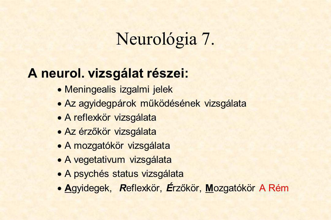 Neurológia 7. A neurol. vizsgálat részei: Meningealis izgalmi jelek
