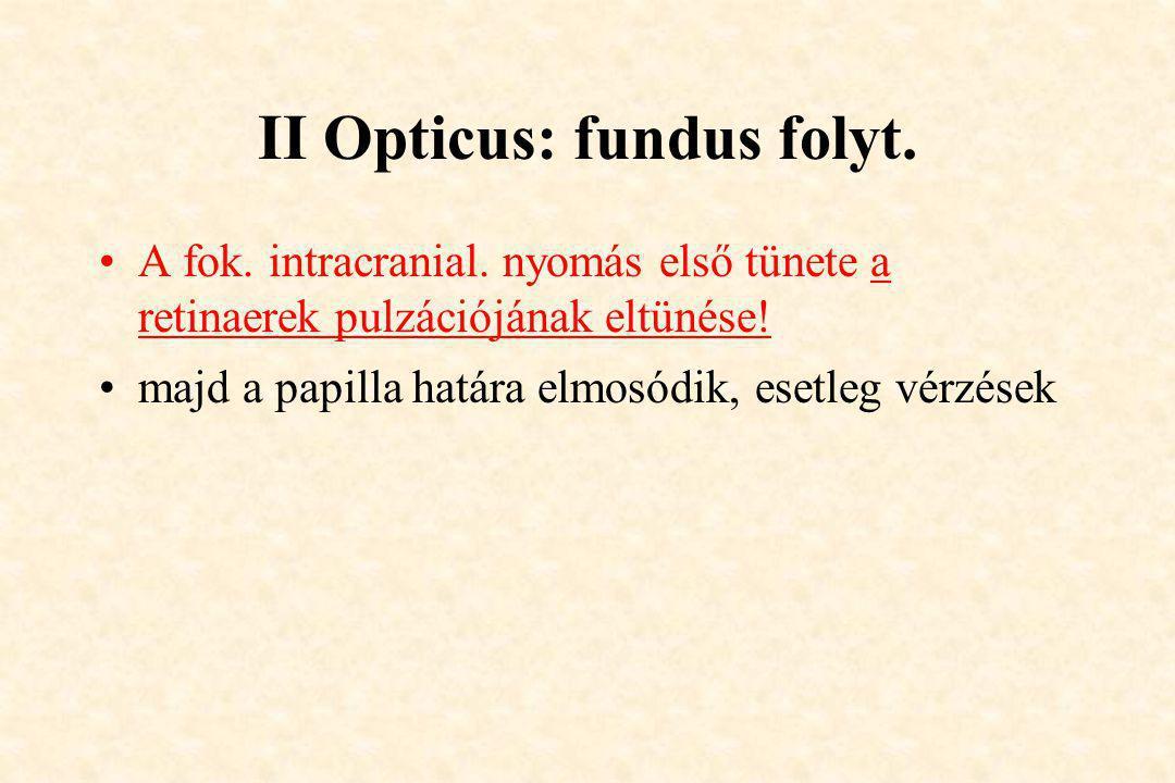 II Opticus: fundus folyt.
