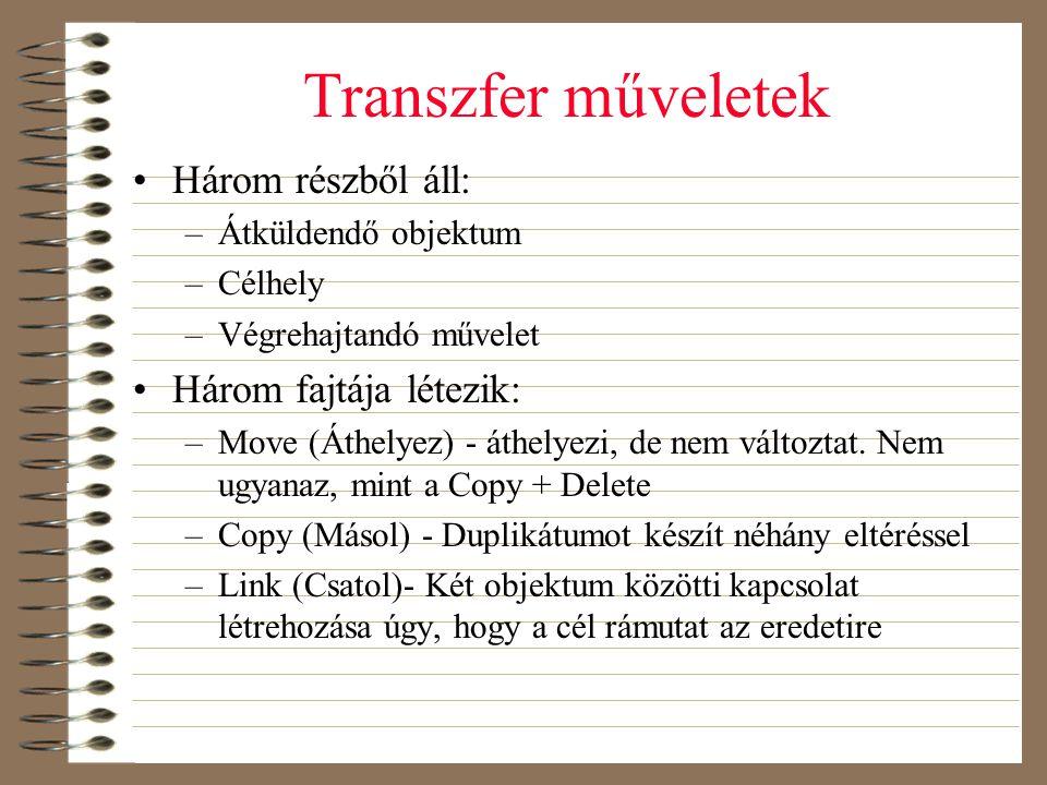 Transzfer műveletek Három részből áll: Három fajtája létezik: