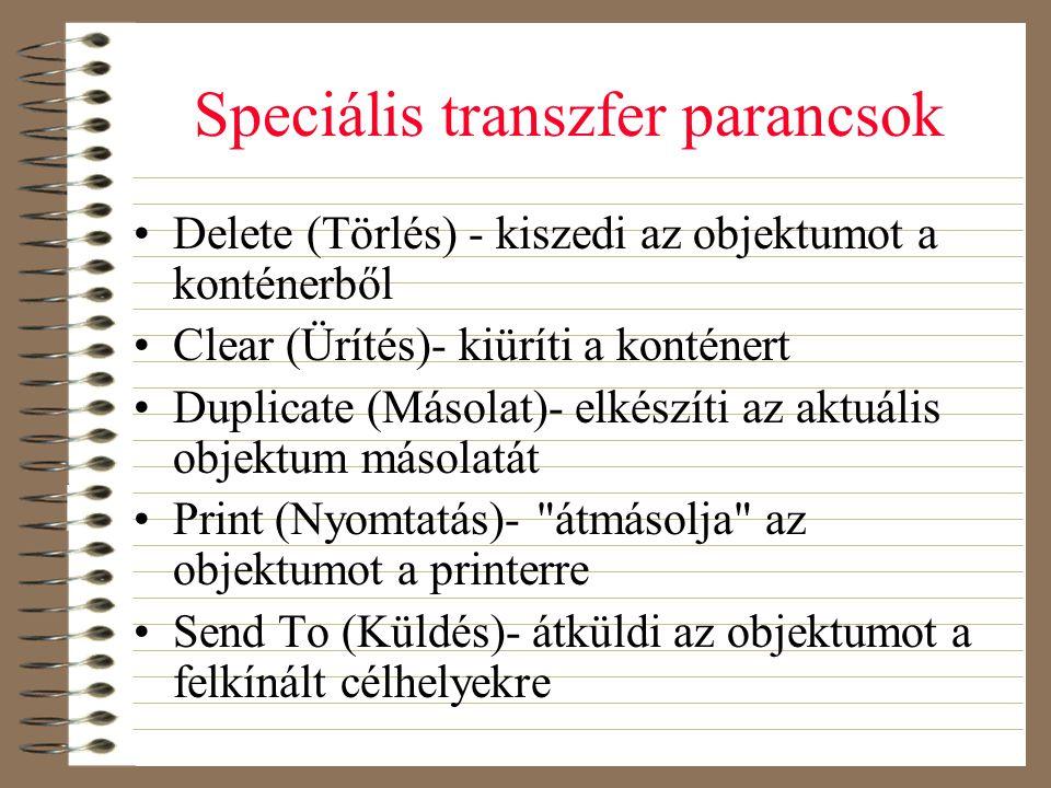 Speciális transzfer parancsok