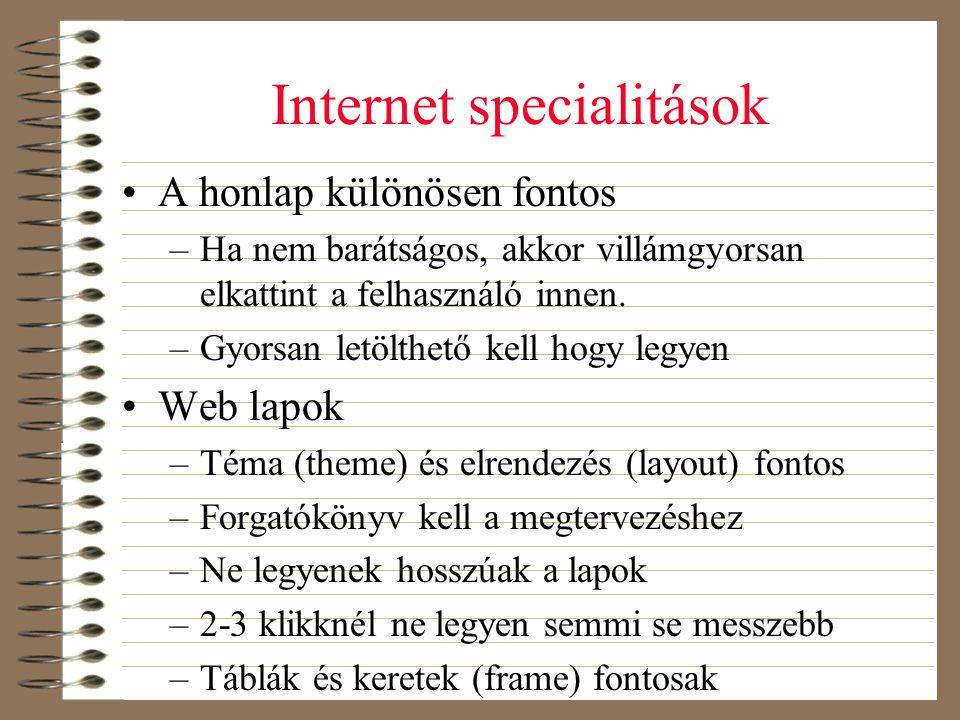 Internet specialitások