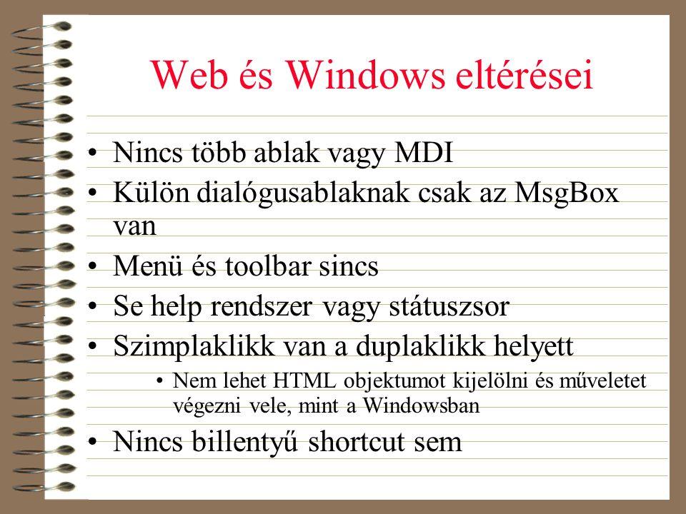 Web és Windows eltérései