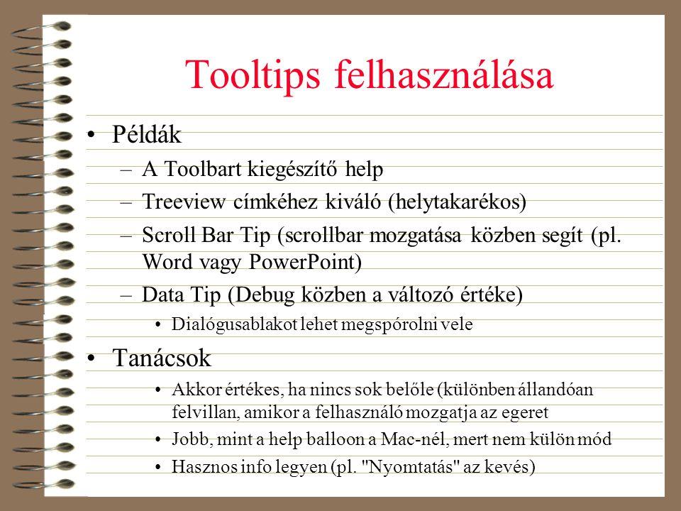 Tooltips felhasználása
