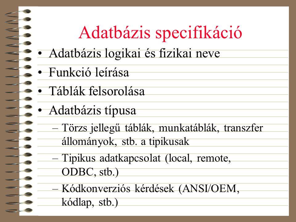 Adatbázis specifikáció