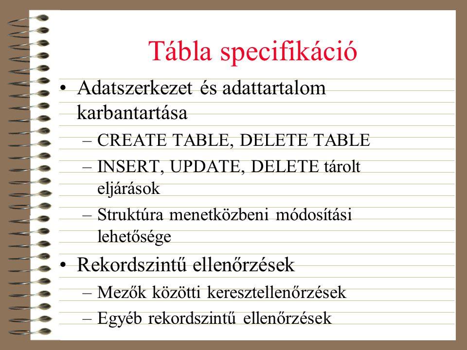 Tábla specifikáció Adatszerkezet és adattartalom karbantartása