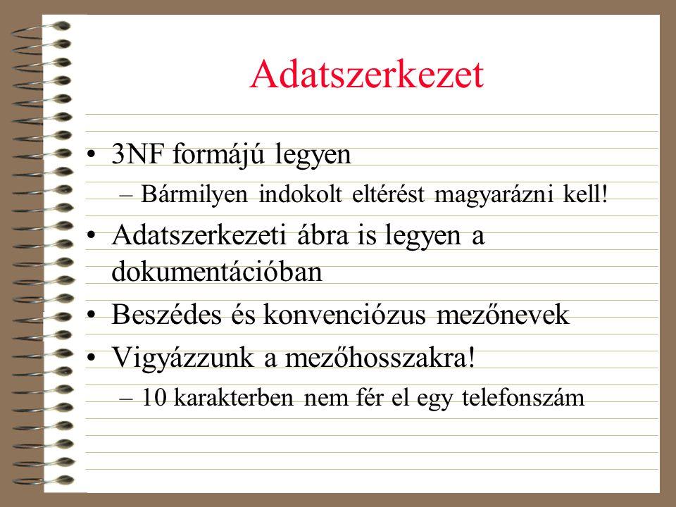 Adatszerkezet 3NF formájú legyen