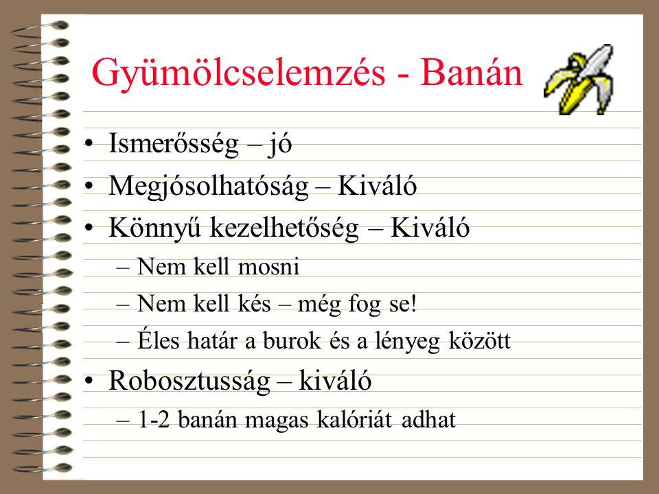 Gyümölcselemzés - Banán