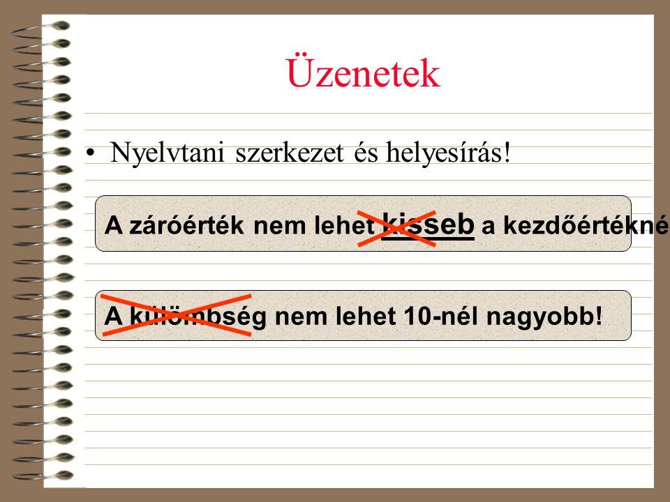 Üzenetek Nyelvtani szerkezet és helyesírás!