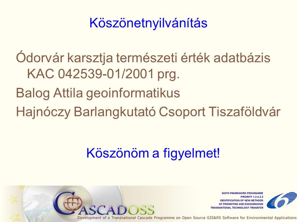 Köszönetnyilvánítás Ódorvár karsztja természeti érték adatbázis KAC 042539-01/2001 prg. Balog Attila geoinformatikus.
