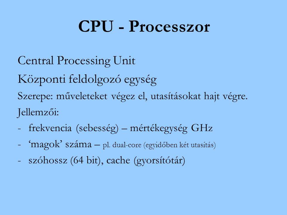 CPU - Processzor Central Processing Unit Központi feldolgozó egység