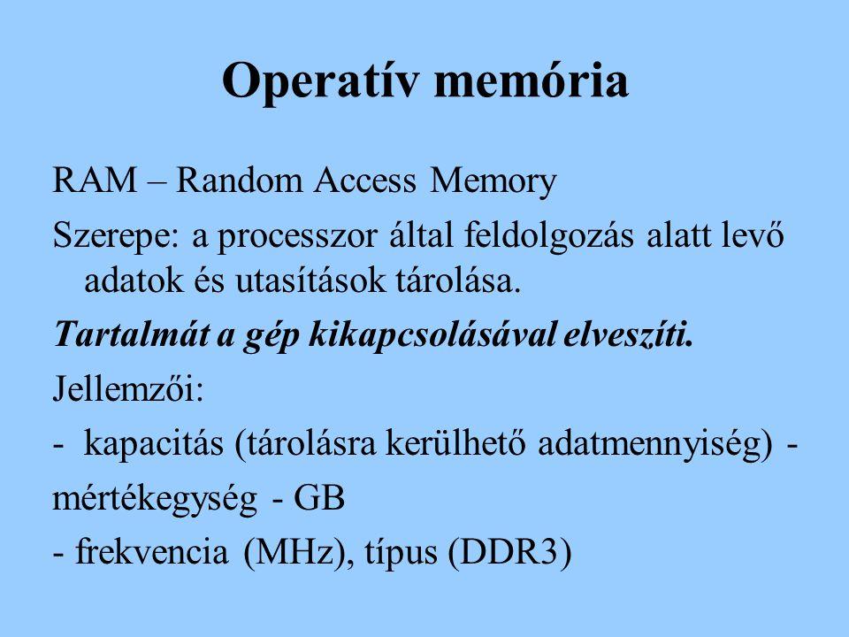 Operatív memória RAM – Random Access Memory