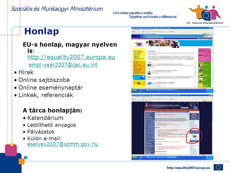 Honlap EU-s honlap, magyar nyelven is: http://equality2007.europa.eu