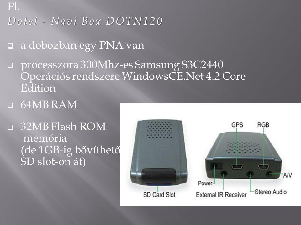 Pl. Dotel - Navi Box DOTN120. a dobozban egy PNA van. processzora 300Mhz-es Samsung S3C2440 Operációs rendszere WindowsCE.Net 4.2 Core Edition.
