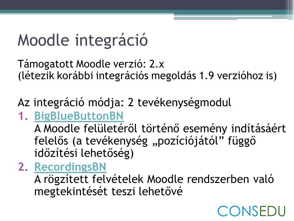 Moodle integráció Az integráció módja: 2 tevékenységmodul