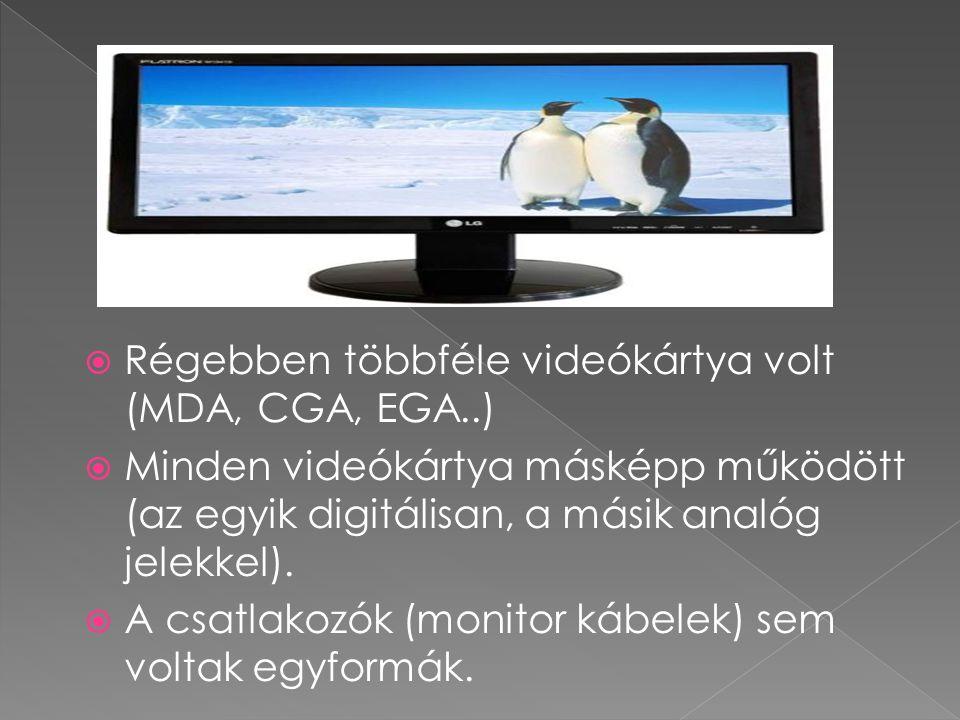 Régebben többféle videókártya volt (MDA, CGA, EGA..)