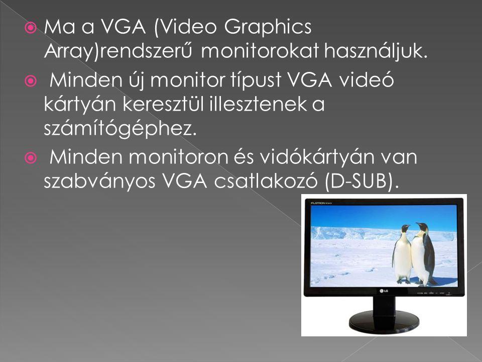 Ma a VGA (Video Graphics Array)rendszerű monitorokat használjuk.