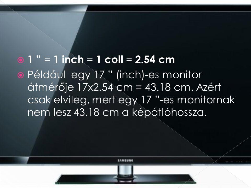 1 = 1 inch = 1 coll = 2.54 cm