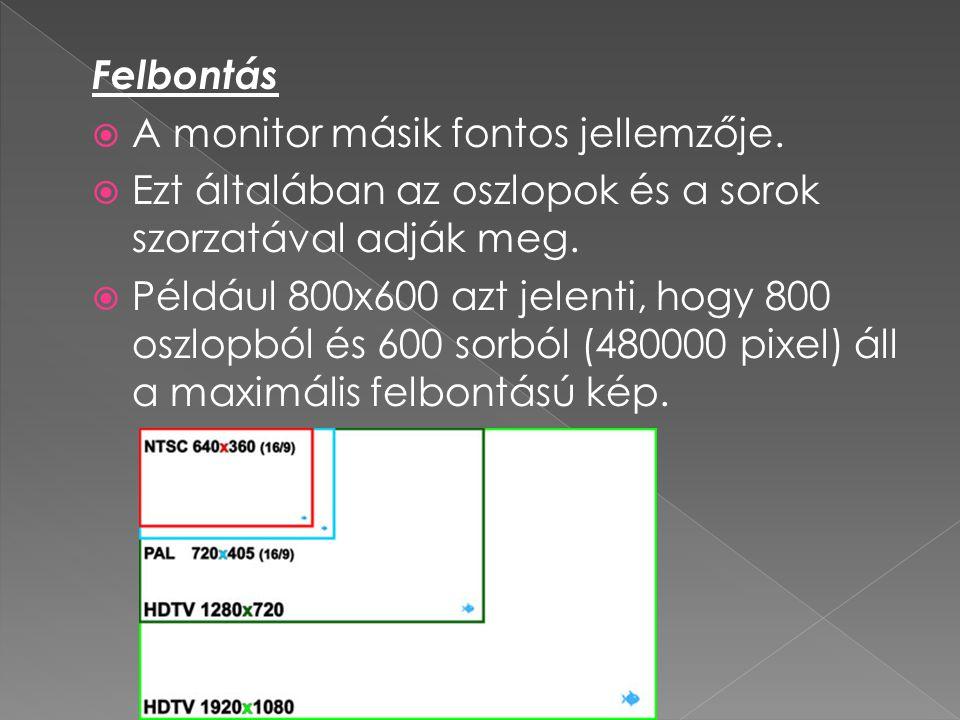 Felbontás A monitor másik fontos jellemzője. Ezt általában az oszlopok és a sorok szorzatával adják meg.