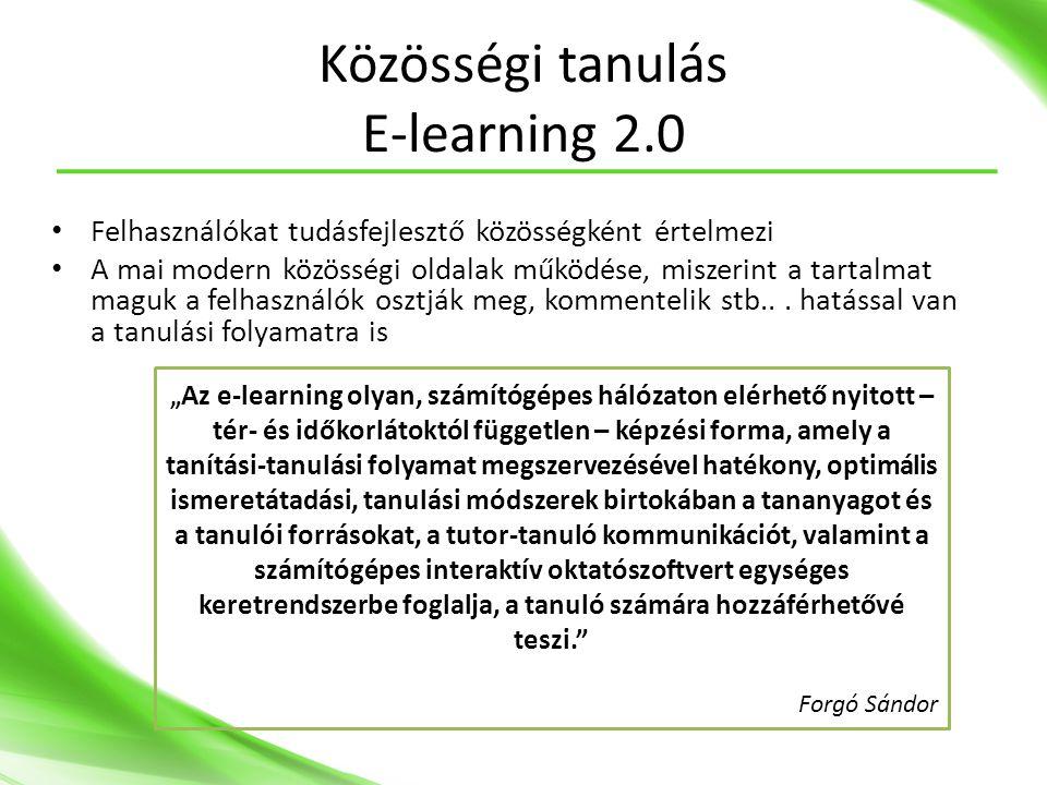 Közösségi tanulás E-learning 2.0