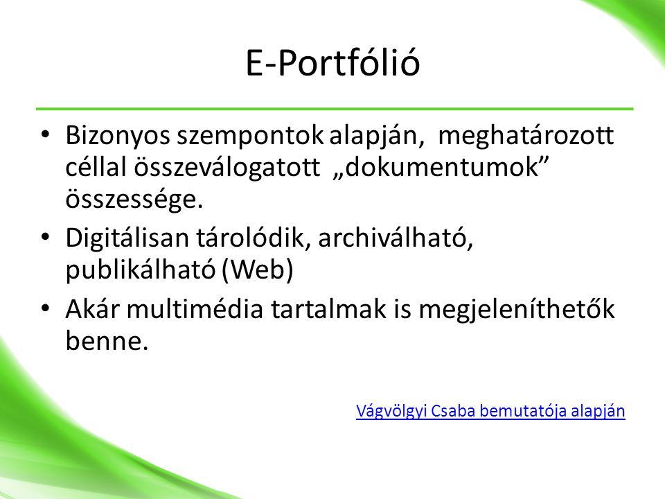 """E-Portfólió Bizonyos szempontok alapján, meghatározott céllal összeválogatott """"dokumentumok összessége."""