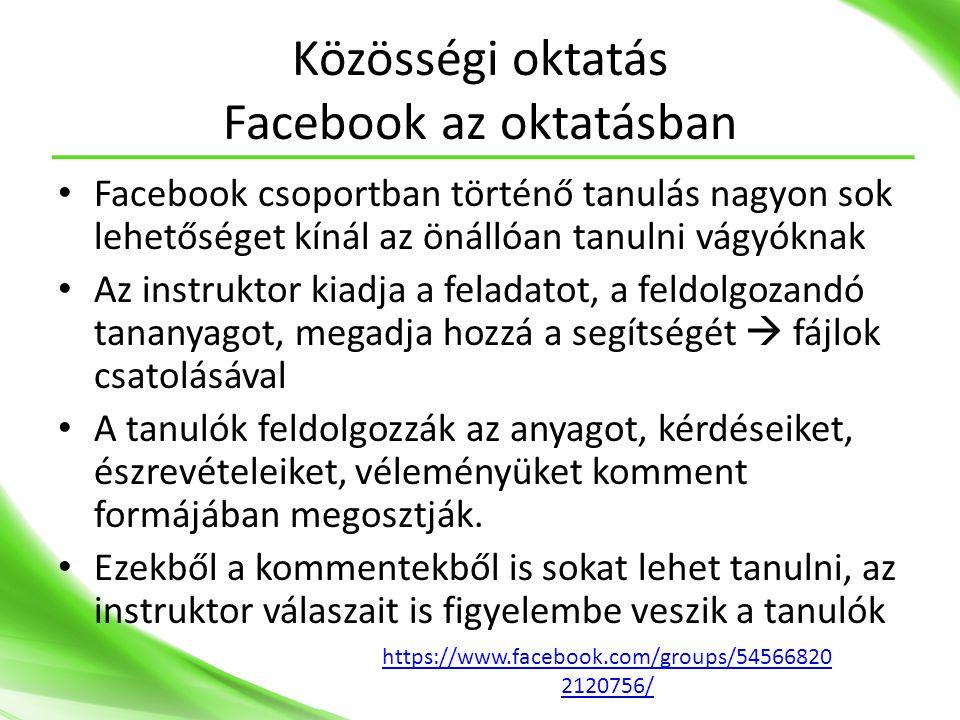 Közösségi oktatás Facebook az oktatásban
