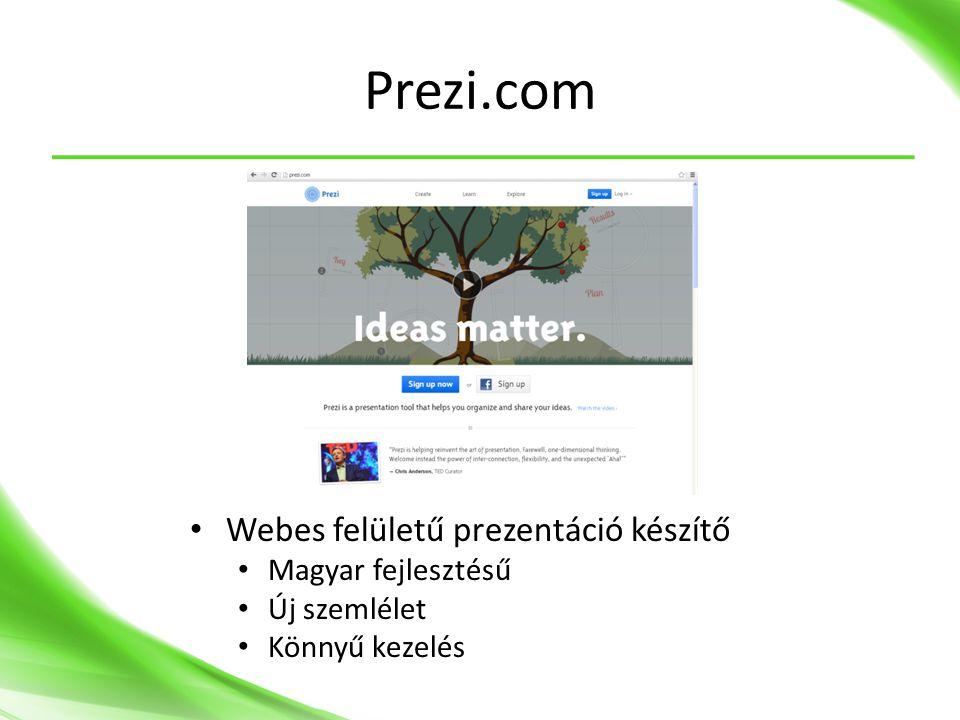 Prezi.com Webes felületű prezentáció készítő Magyar fejlesztésű