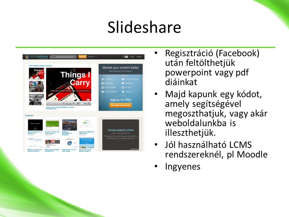 Slideshare Regisztráció (Facebook) után feltölthetjük powerpoint vagy pdf diáinkat.
