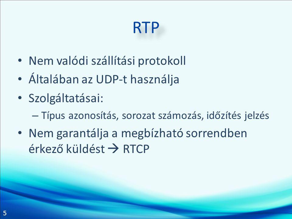 RTP Nem valódi szállítási protokoll Általában az UDP-t használja