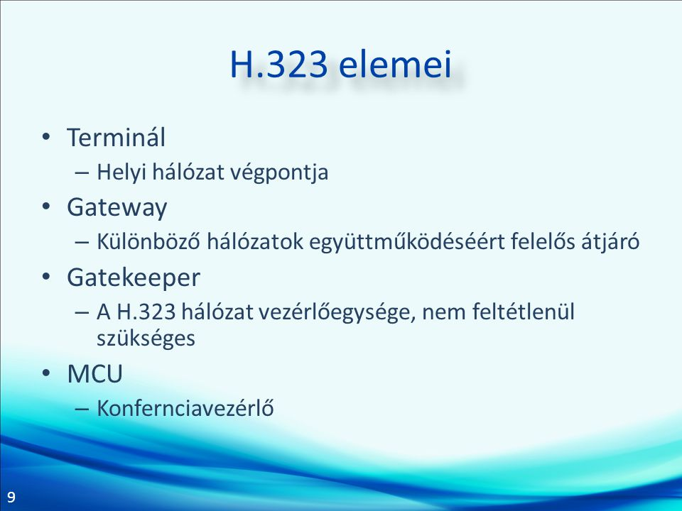 H.323 elemei Terminál Gateway Gatekeeper MCU Helyi hálózat végpontja