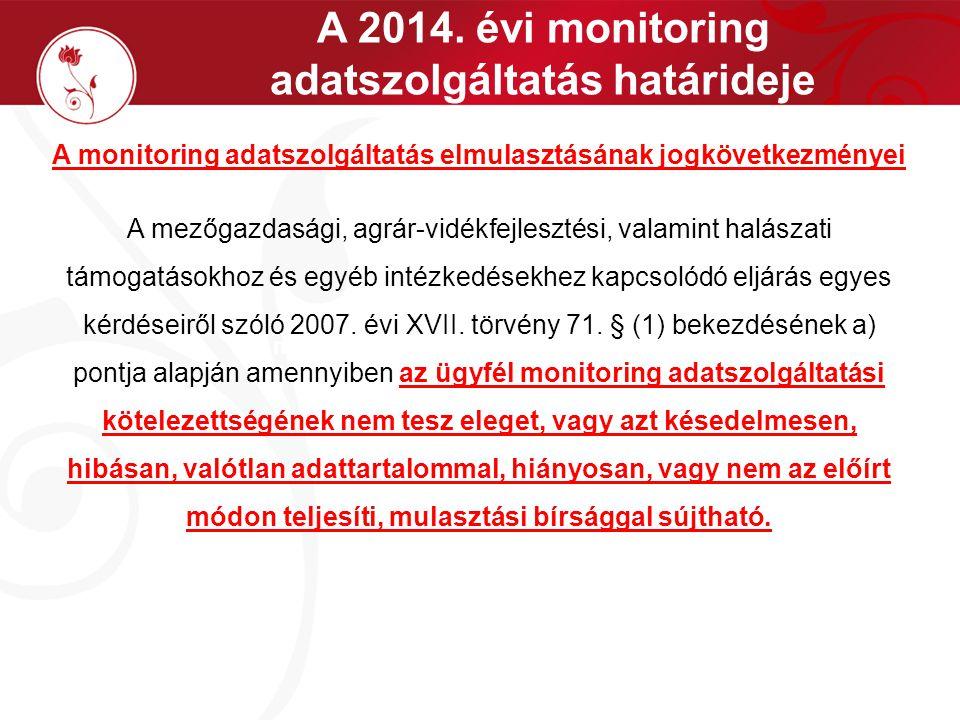 A 2014. évi monitoring adatszolgáltatás határideje