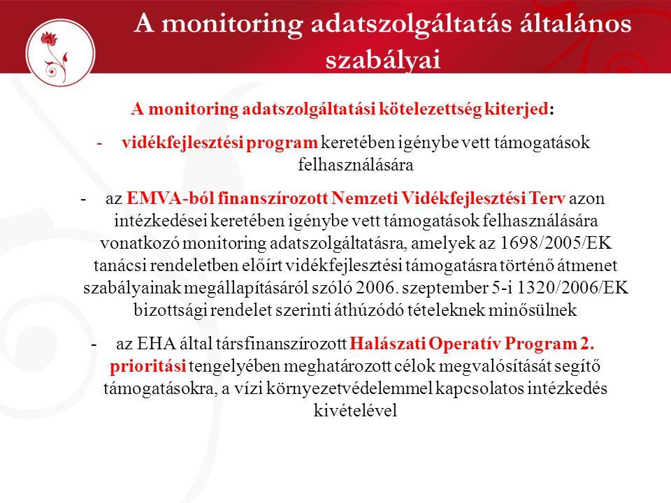A monitoring adatszolgáltatás általános szabályai
