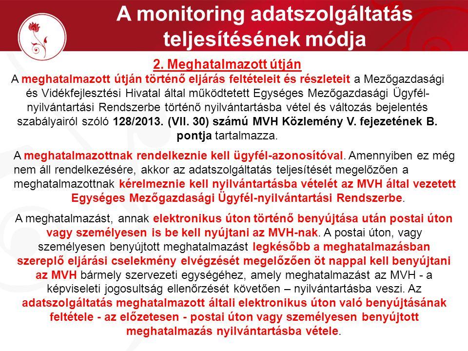 A monitoring adatszolgáltatás teljesítésének módja