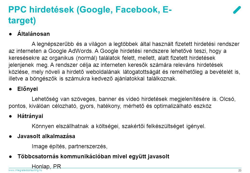 PPC hirdetések (Google, Facebook, E-target)