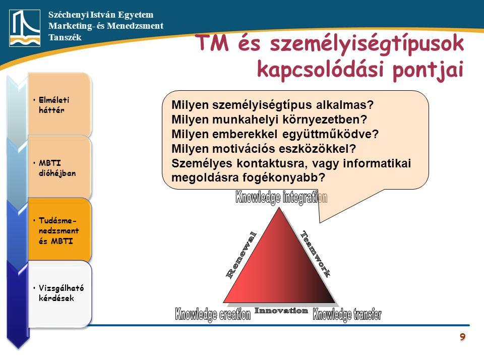 TM és személyiségtípusok kapcsolódási pontjai