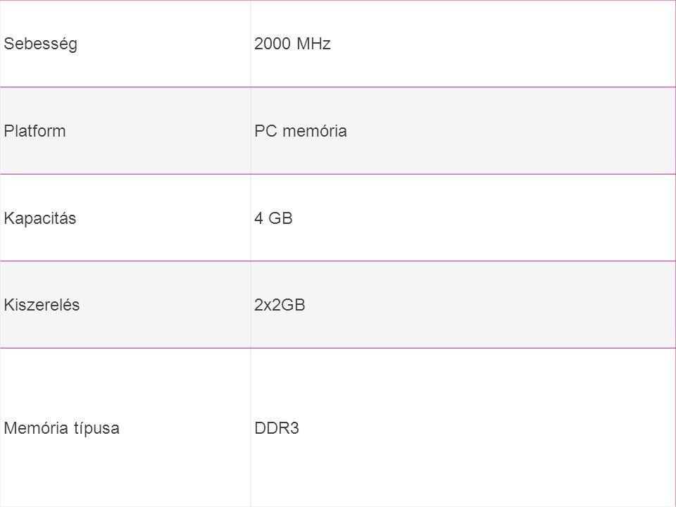 Sebesség 2000 MHz Platform PC memória Kapacitás 4 GB Kiszerelés 2x2GB Memória típusa DDR3