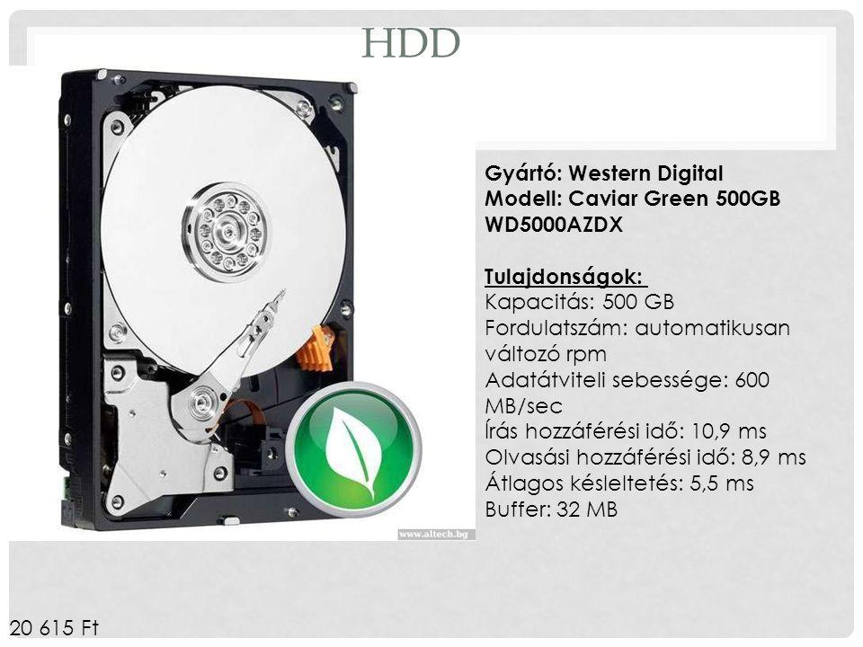 HDD Gyártó: Western Digital Modell: Caviar Green 500GB WD5000AZDX Tulajdonságok: Kapacitás: 500 GB.