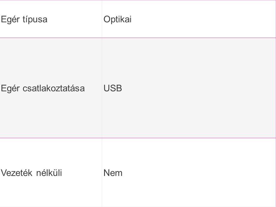 Egér típusa Optikai Egér csatlakoztatása USB Vezeték nélküli Nem